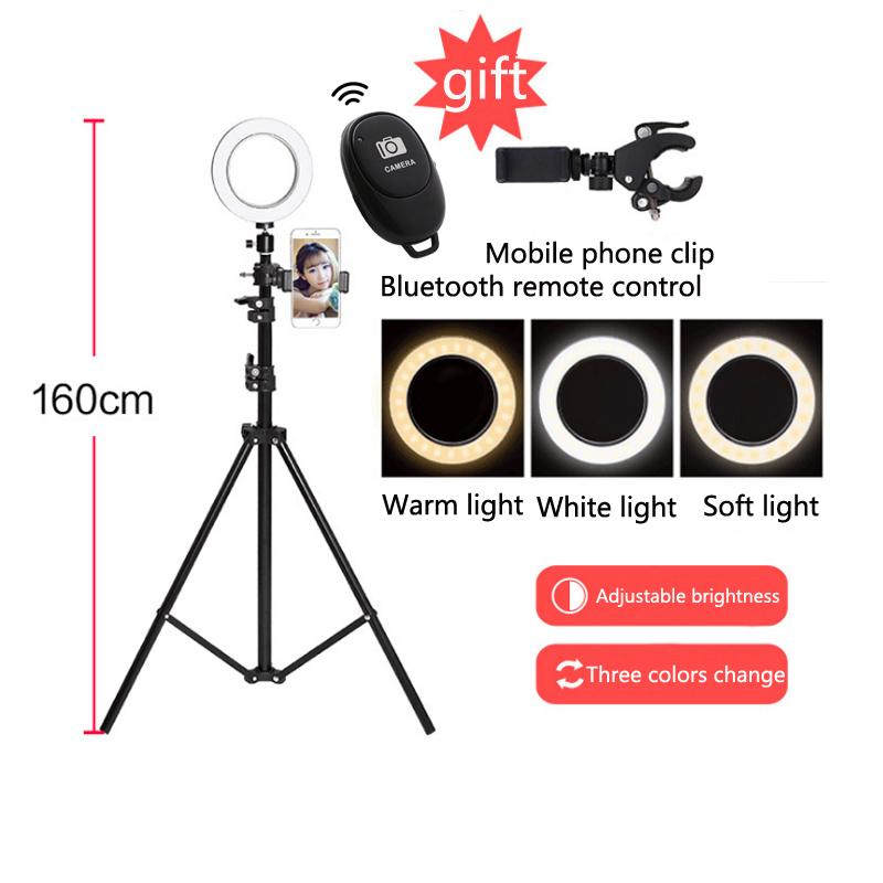 6 Product shooting lamp Led Camera Photography Ring Light Tripod Moblie Phone Clamp make up Lamp for xiaomi YouTube Live video6 Product shooting lamp Led Camera Photography Ring Light Tripod Moblie Phone Clamp make up Lamp for xiaomi YouTube Live video