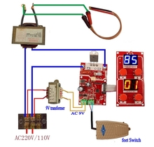 Machine à souder à double affichage, NY D04 100A, transformateur, panneau de commande, réglage du courant