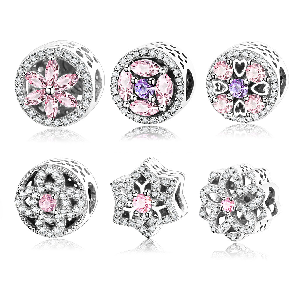 Fits Original Pandora Charm Bracelet Pink Zircon Beads Authertic 100% 925 Sterling Silver Charms Jewelry DIY Making Wholesale