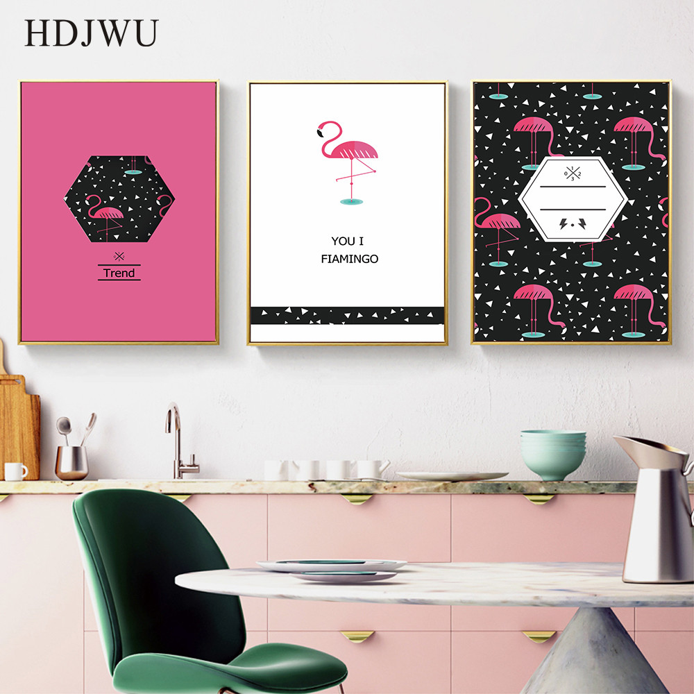 Morden Art Home Decor Canvas Painting Fashion Flamingos Printing Posters Wall Pictures for Living Room DJ57