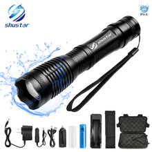 Waterproof LED flashlight T6/L2 8000 lumens torch Zoomable flashlight 5 switch modes light with 18650 battery + charger(China)
