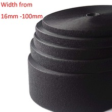 (Width 16mm to 100mm,Lenght 25 Meters/Roll) Black Hook and Loop Tape / Roll - Sew On (Not Adhesive)