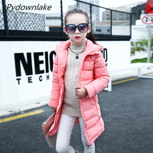 Pydownlake Children Girls Winter Parka Coat New 2018 Long Thick Cotton Warm Kids Clothes Casual Solid Jacket Outerwears