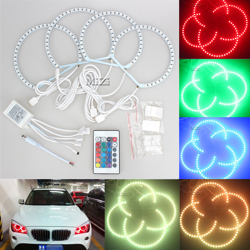 4x131mm RGB LED With Halo Ring Angel Eyes Headlight Multi-color Mode For BMW E36 E39 E46 E60 E92 Remote Control High Brightness new e39 rgbw ir remote control led marker angel eyes for bmw e87 e60 e61 e63 e64 e65 e66 e53 e83 x5 rgb color changing lighting