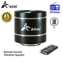 Remote Control Vibration Speaker Adin Mini Portable FM Radio Speaker Mp3 Stereo Small Bass HIFI Metal TF Speaker caixa de som