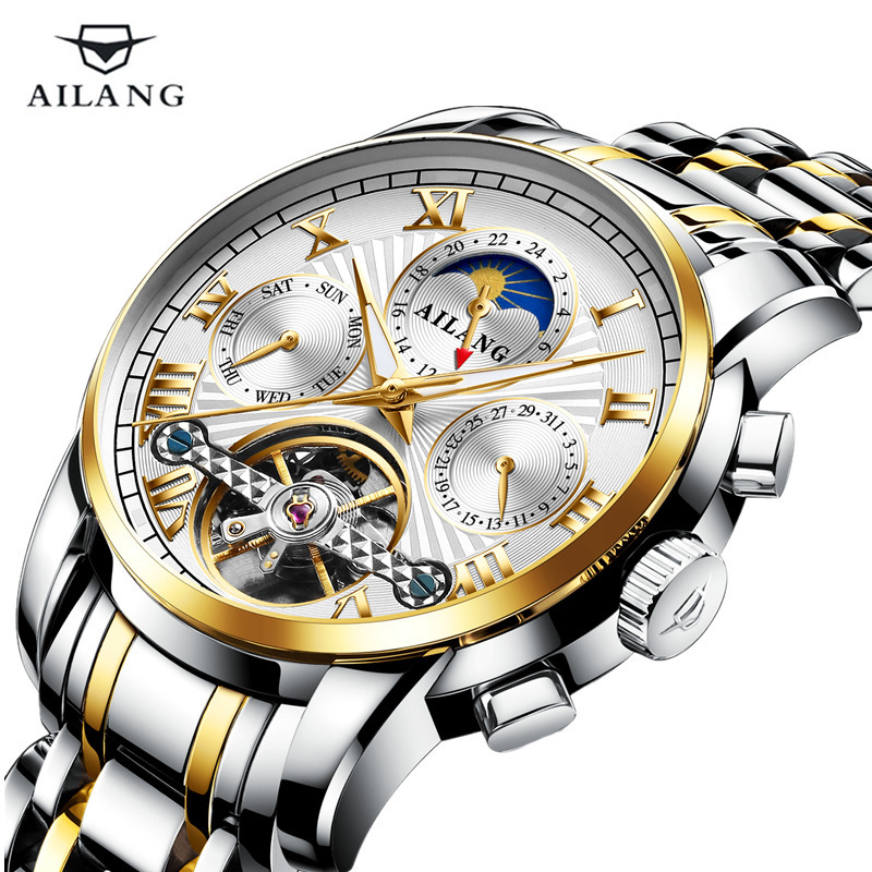 AILANG High Quality Tourbillon Automatic Mechanical Men Watch Business Moon Phase Male Clock Top Brand Luxury Relogio Masculino