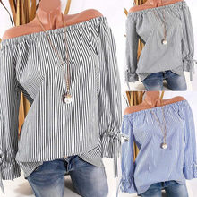WOMAIL 2018 Women Cloth Fashion Long Sleeve Blouse Stripe Print Sexy Shirts Off Shoulder Tops Autumn Summer Sep12(China)