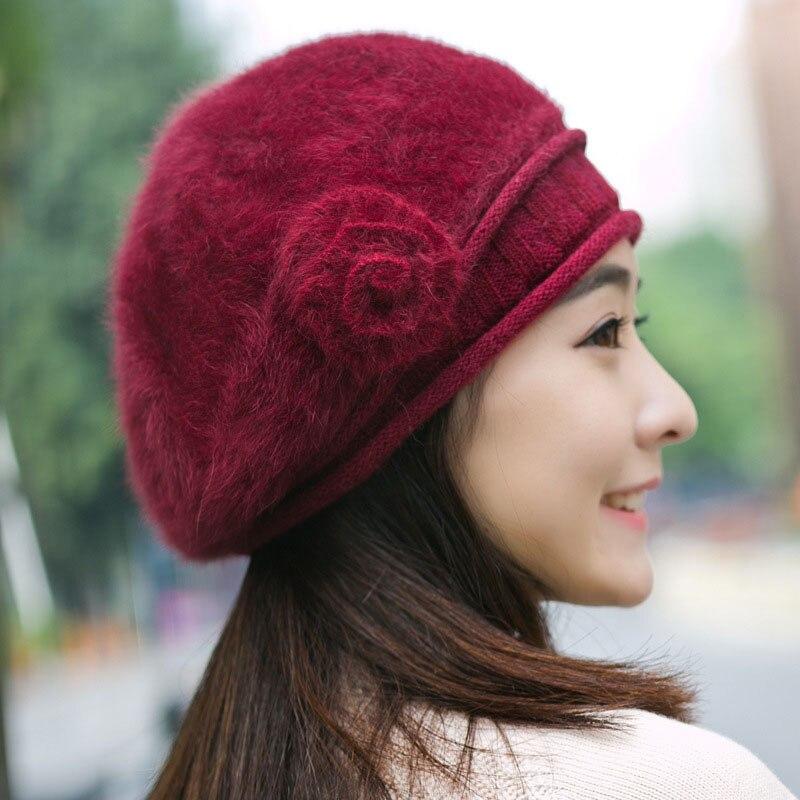 362e5e79dca 2017 Fashion Warm Women Rabbit Fur Beret Hat Flower Warm Women Winter  Knitted Hats for Old Ladies Elders Females Mother Grandma-in Berets from  Apparel ...
