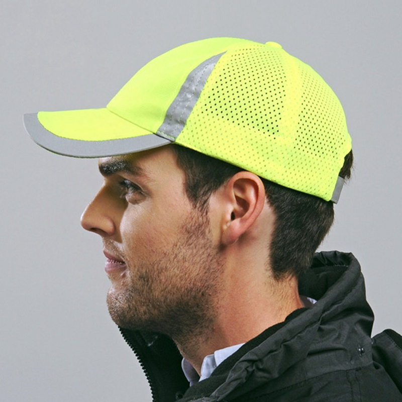 High Visibility Reflective Baseball Cap Yellow Safety Hat Work Safety Helmet Outdoor Hat Reflective Breathable Mesh Hats