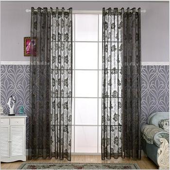 Modern Simple design jacquard window curtains Translucidus voile for bedroom living room study 5 color 1pcs price free ship window valance
