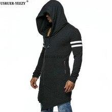 USRUER-YEEZY Neue Beste Qualität Mens Hooded Mit Schwarz Kleid Hip Hop Mantel Männer Hoodies Sweatshirts Langen Ärmeln Mantel Mantel Outwear