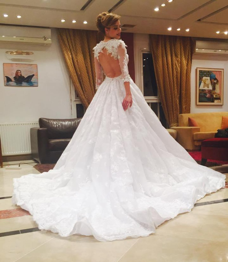Gorgeous White Wedding Dresses Y Open Back Lace Bridal Gowns Long Sleeve Court Train Vestido De Noiva In From Weddings Events On