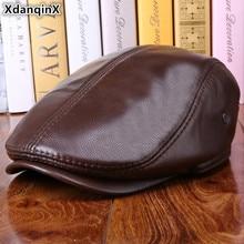 XdanqinX Men's Hat Winter Thicker Warm Cowhide Berets Brand Genuine Leather Caps Male Bone Dad's Hats Trucker Cap For Adult Men спец hp 24 000
