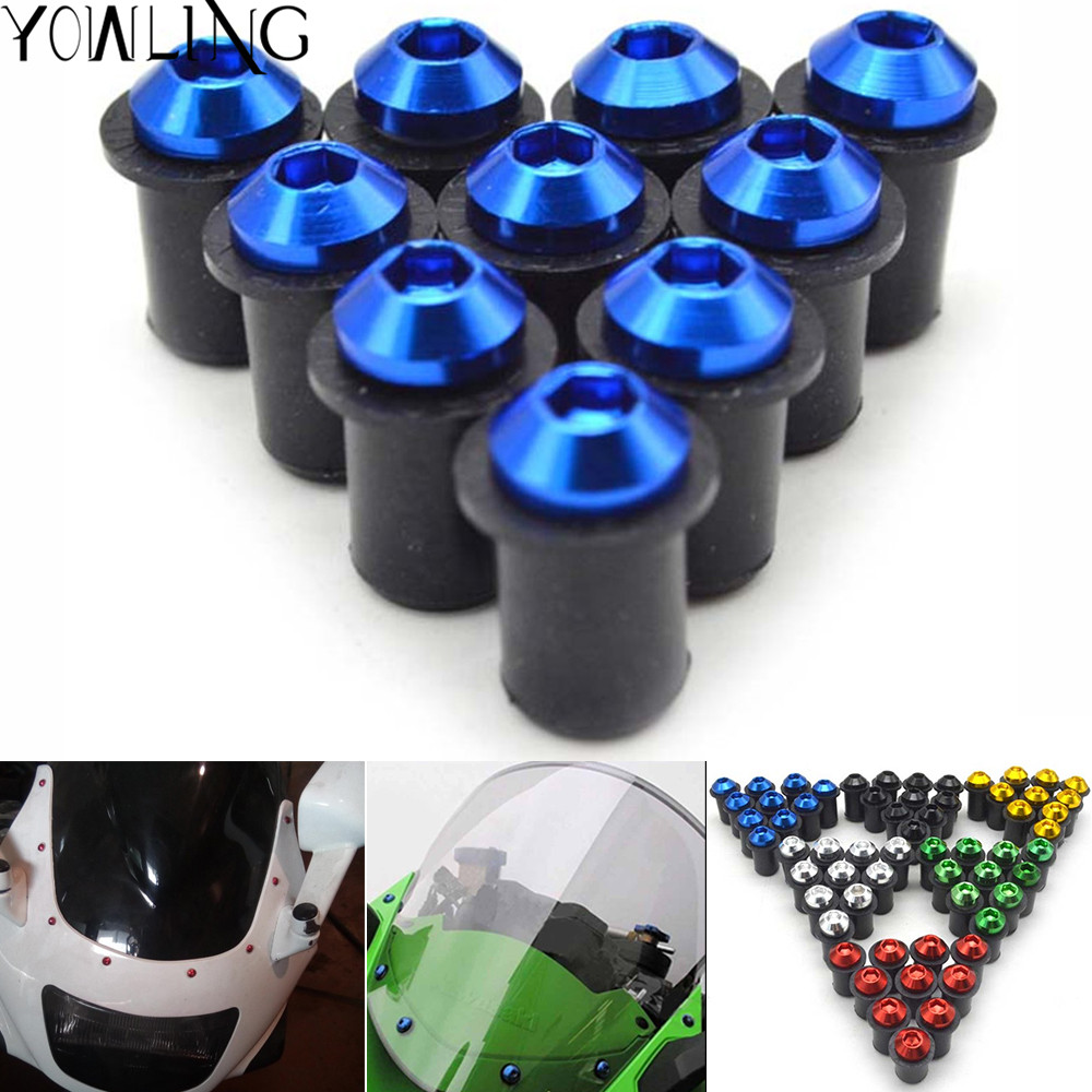 5PCS Motorcycle Windshield Windscreen Bolt Screw Nut Fastener Kit For honda cbr 1000 rr 2006 2007 Yamaha MT-09 r1 r25 R6 R3 MT07