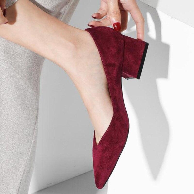 Mode talon haut jaune, vin rouge chaussures pour femmes 2019 nouveau daim mi-talon pointe de travail chaussures talons femmes pompes obuv zapatos mujer
