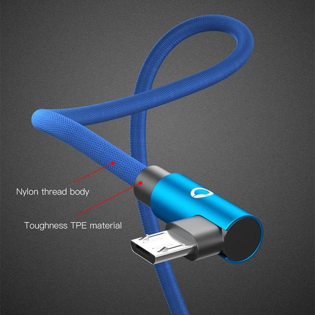 PZOZ Micro USB Câble 90 Degrés Microusb Charge Rapide cordon données Chargeur Pour Samsung Huawei Xiaomi Tablet usb micro tressé câble 1