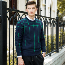 New Spring Fashion Brand clothing Casual Sweater men crewneck Slim Fit Mens Sweaters And Pullovers striped cotton sweater