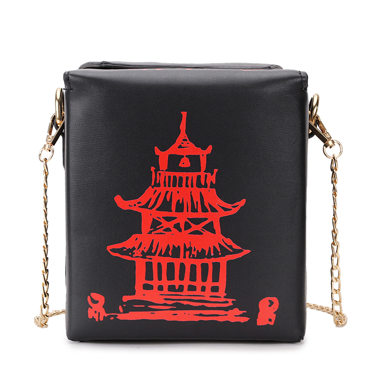 Box Design Chinese Tower Print Pu Leather Ladies Bucket Bag Chain Shoulder Bag Crossbody Mini Messenger Bag For Women Handbag