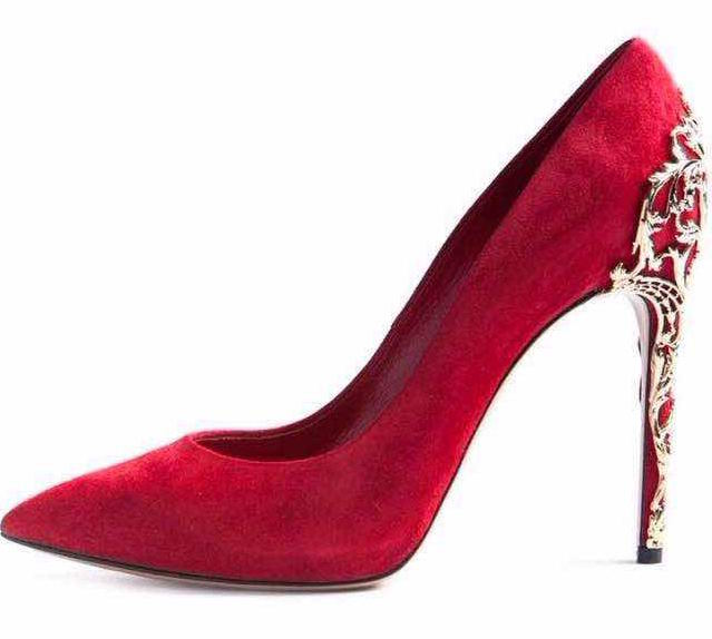 Gold Totem Carved Metal Heels Pumps For Women Pointed Toe Slip-on Bride Party Dress Shoes Red Suede Metal Decorated Wedding Shoe newest metal leaves high heel pumps pointed toe slip on women wedding dress shoes 2018 spring autumen bride heels pumps