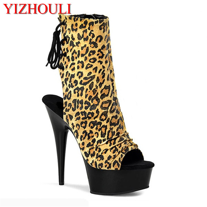 New to 7 shades sexy leopard print leather stiletto boots exposed stiletto heels and ankle strap