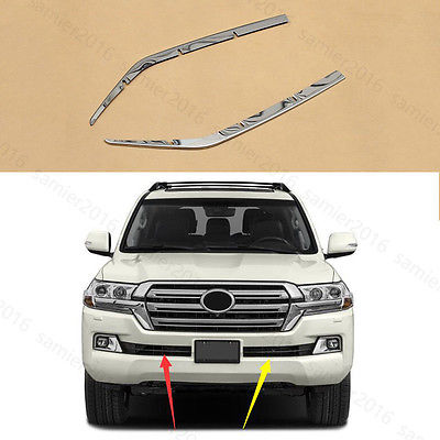 2x Steel Grill Trim For Toyota <font><b>Land</b></font> <font><b>Cruiser</b></font> <font><b>LC200</b></font> 2016 <font><b>2017</b></font> Front Bumper Accessories image