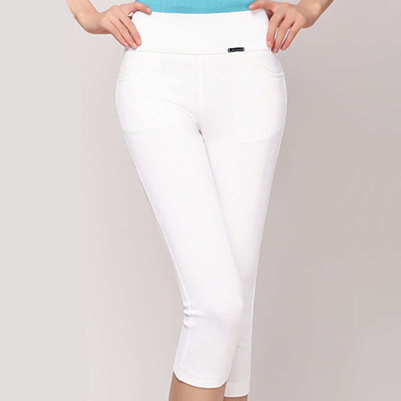 3 Solid color 4XL Super elasticity 2016 summer trousers for women casual slim pencil   pants     capris   ladies offiice   pants   work wear
