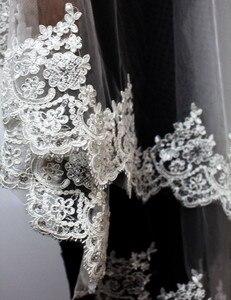 Image 3 - 2020 Nieuwe Twee Lagen Pailletten Lace Edge Korte Bruiloft Sluier Met Kam 2 Lagen 0.9 Meter Tule Bruidssluier Voor trouwjurk
