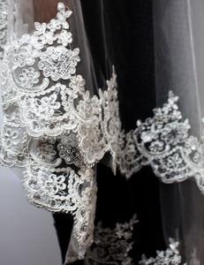 Image 3 - 2020 nowe dwie warstwy cekinowa koronka krawędź krótki welon slubny z grzebieniem 2 warstwy 0.9 metr tiul welon ślubny do sukni ślubnej
