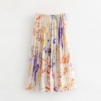 Faldas Mujer Moda 2019 Summer New Flower Print Pleated Abstract Long Skirt Skirts Womens Streetwear Modis