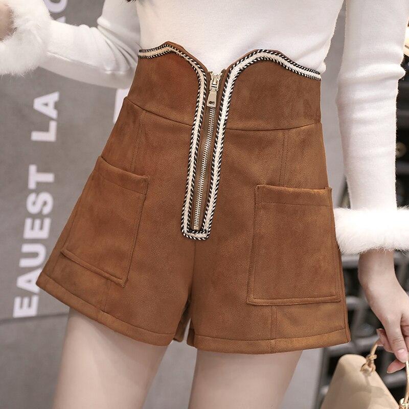 MUMUZI Autumn Winter Suede High Waist  Women Sexy Short Feminino Zipper And Pockets Shorts Mujer Hot Female