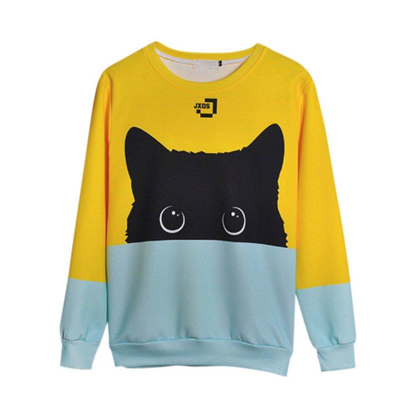 18 Autumn Winter Pullovers Funny Brand Clothin Cute Black Cat Sweatshirt Women Long Sleeve Animal Hoody 7