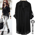 Plus Size S-4xl Fashion Women Blusas Contain Vest Large Inventories  V-neck Solid Chiffon Loose Blouses Casual Feminina Vestidos