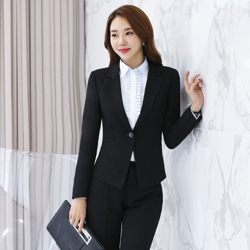 Formal Black Slim Fashion Professional Female Pantsuits Long Sleeve Pants Suits With Jackets And Pants for Business Women