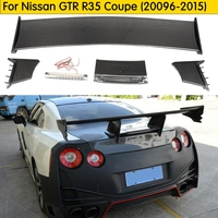 For Nissan R35 GTR Carbon Fiber Rear Spoiler (Included Lights) Ni Style GT Rear Wing For GTR R35 Coupe Body Kit Tuning