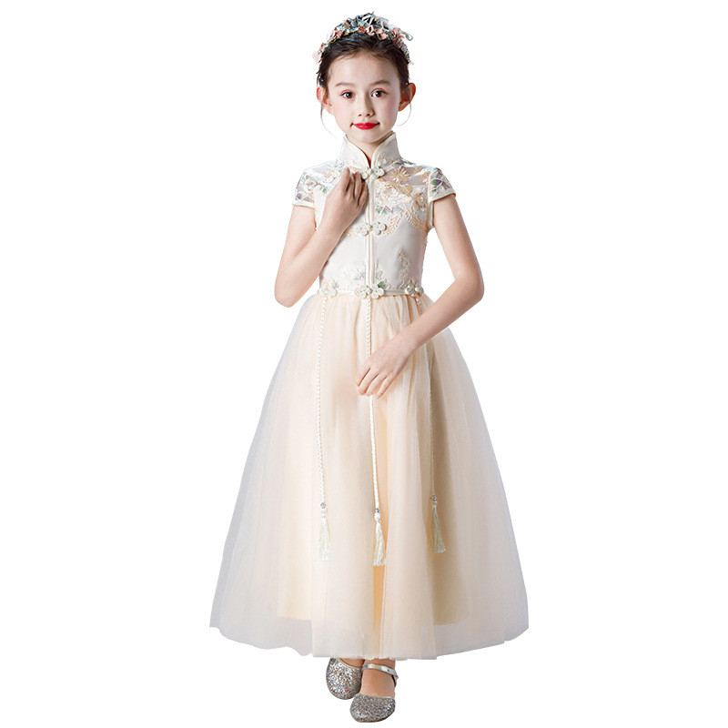 New Children Girls Chinese Style Mesh Floral Princess Dress Kids Dresses For Girls Party Dress Baby Girl Clothes Vestidos F148New Children Girls Chinese Style Mesh Floral Princess Dress Kids Dresses For Girls Party Dress Baby Girl Clothes Vestidos F148