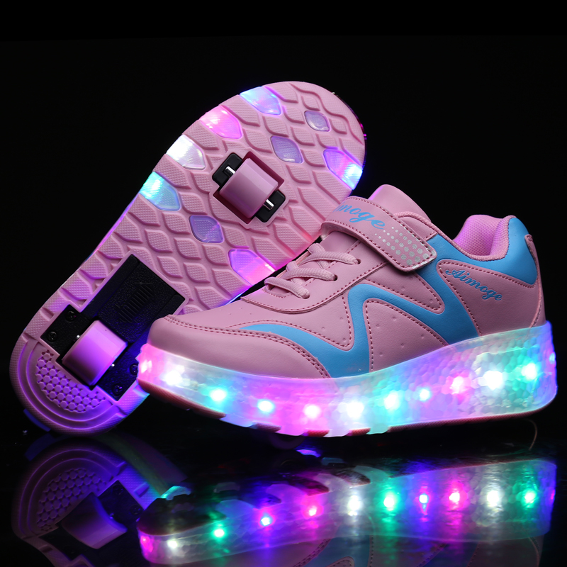 Colorful LED Double Roller Light Up Skate Shoes Women Men Flashing Automatic Glowing Pulley Roller Shoes Kids Luminous Sneakers