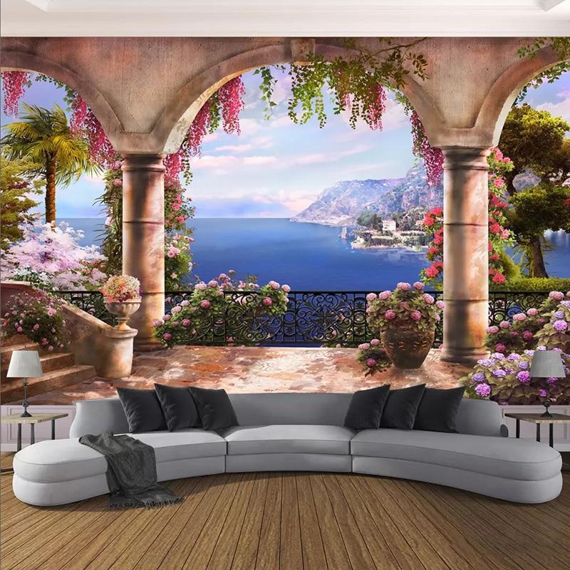 3D Wallpaper Seaside Landscape Arch Photo Wall Murals Living Room Restaurant Creative Home Decor Wall Painting Papel De Parede