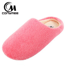 2018 Winter Shoes Women Home Slippers Pantufa Soft Velvet Woman Indoor Cotton Sneakers Warm Furry Slipper Terlik Big Size(China)