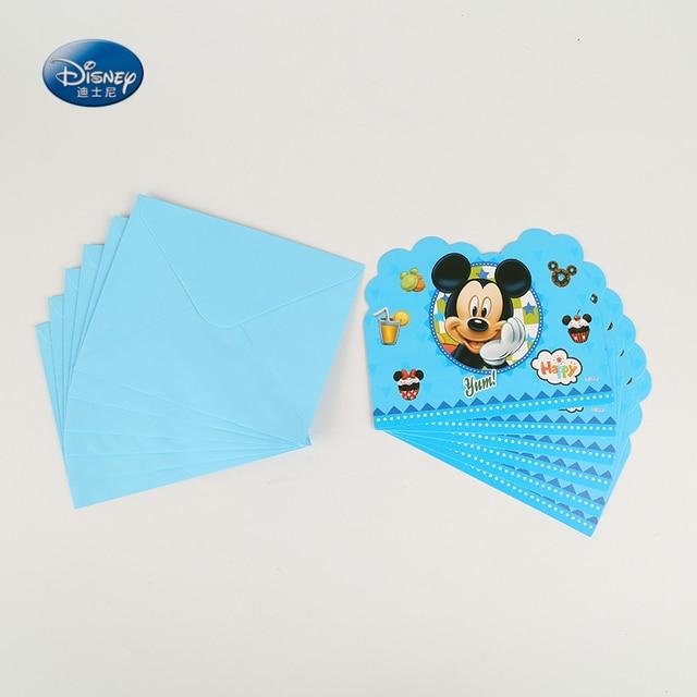 Disney Party Supplies 6pcs cards+ 6pcs envelopes Mickey Mouse