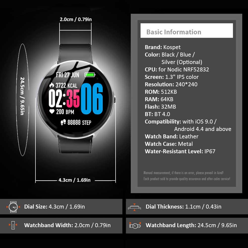 Kospet V12 Smartwatch spor bilezik izci nabız monitörü 1.3 ''IPS ekran Bluetooth 4.0 IP67 su geçirmez akıllı saat erkekler