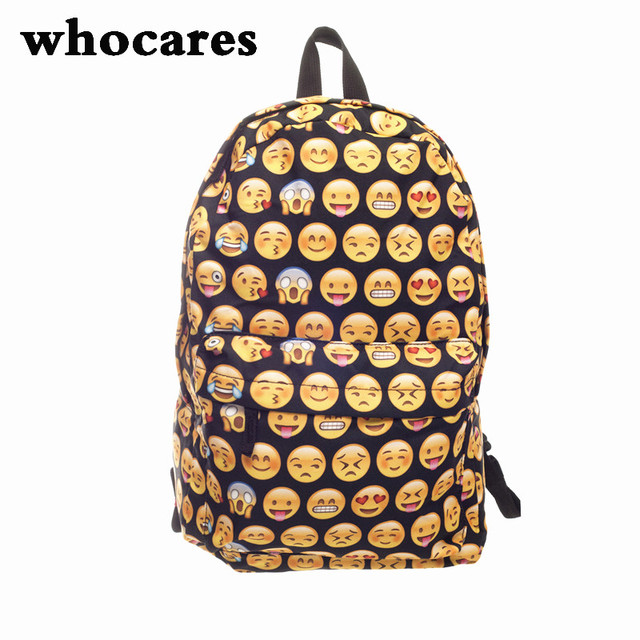 Emoji black 3D printing 2016 High Quality Women Canvas Backpacks Smiley  School Bag For Teenagers Girls Shoulder Bag Mochila