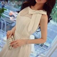 Оригинальный платья для женщин Лето 2017, Новая мода дамы элегантный темперамент белый лук макси вечернее платье для оптовая продажа