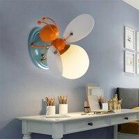 Creative Little Bee Wall Lamp Bedroom Bedside Lamp Decorative Simple Cartoon Led Children's Wall Light Wall Sconce Light Fixture