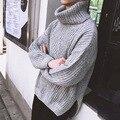 Nueva Moda de Invierno Suéter de Cuello de Tortuga de Los Hombres Sueltos de Calidad Superior Tejer Suéter Caliente Hombres de Cuello Alto Suéteres Para Hombre Homme Tirón