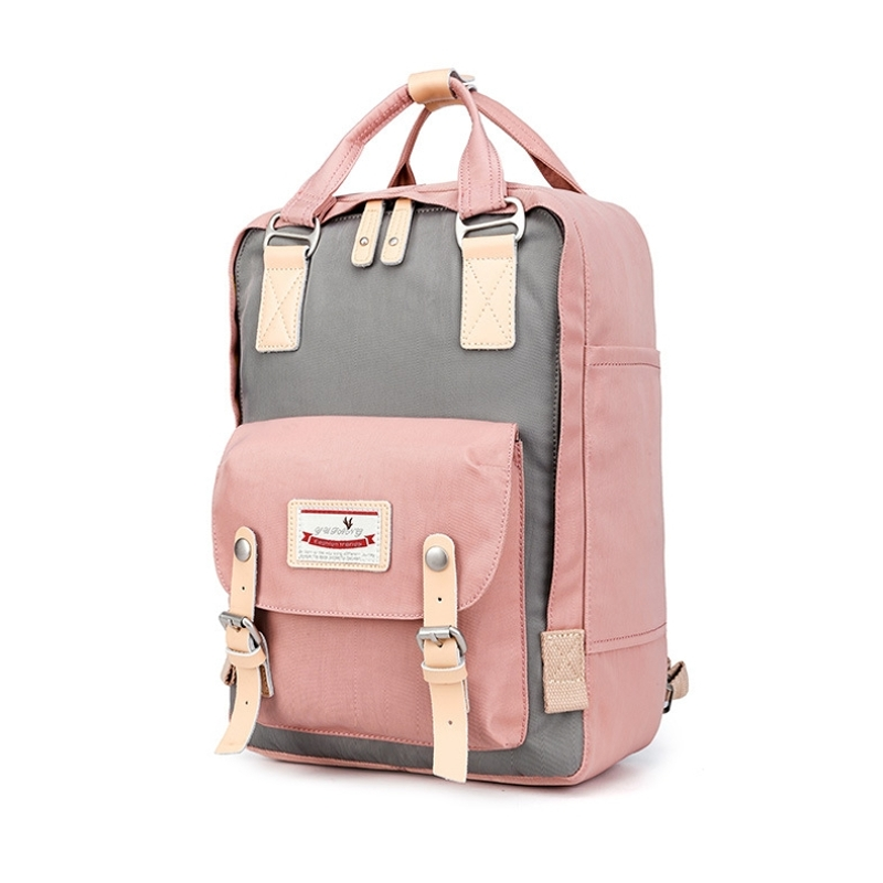 Fashion Donuts Brand Panelled Shoulder Bags Girls Pink Cute Backpack Women Korean College Oxford School Bags
