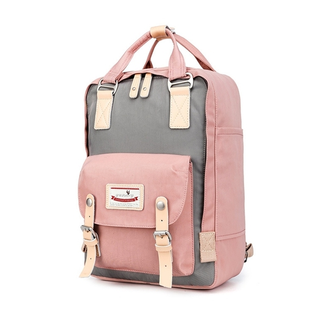 Fashion Donuts Brand Panelled Shoulder Bags S Pink Cute Backpack Women Korean College Oxford School