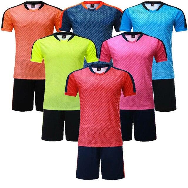 2c4de5eca Kids blank short sleeve soccer jerseys boys stripe football jersey and shorts  youth plain soccer uniforms customize any logos