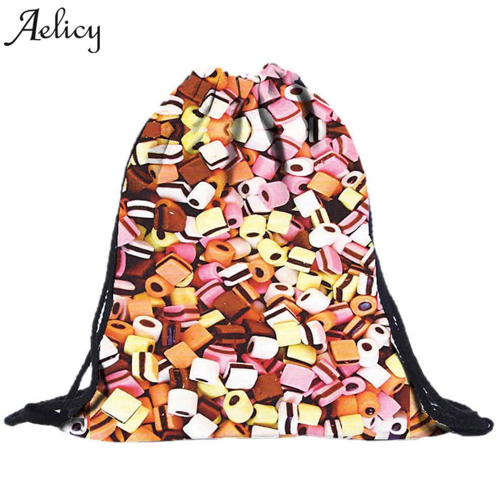 Aelicy luksusowe kobiety ściągany sznurkiem plecak-worek drukowanie 3D Vintage studenci szkoły Bagpack dziewczyny Mochila Feminina torby sakwowe