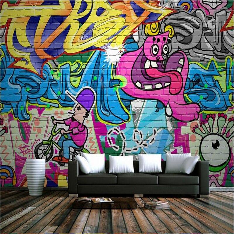 Creative Cartoon Photo Wallpapers For Walls 3D Graffiti