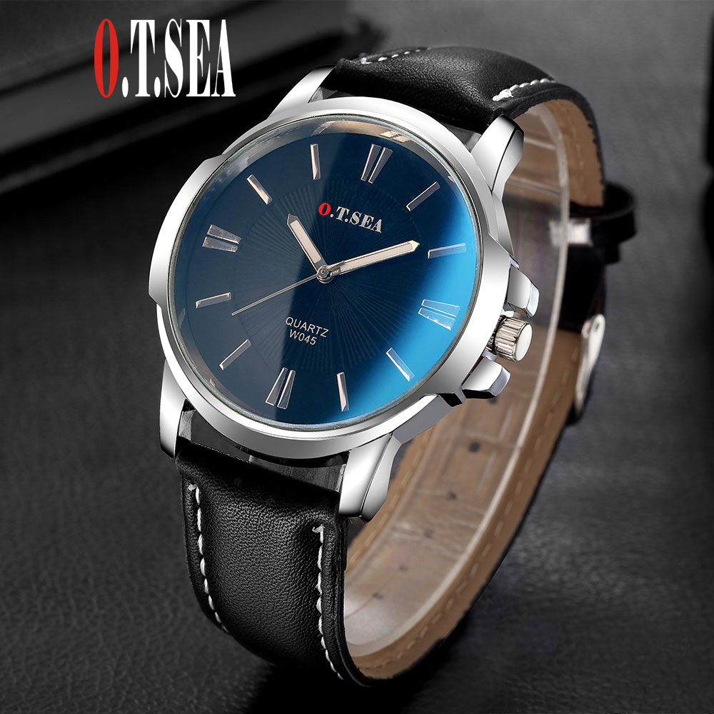 Hot Sales O.T.SEA Brand Faux Leather Blue Ray Glass Watch Men Women Military Quartz Wristwatches Relogio Masculino W045 luxury o t sea brand faux leather blue ray glass watch men military sports quartz wrist watches relogio masculino w046
